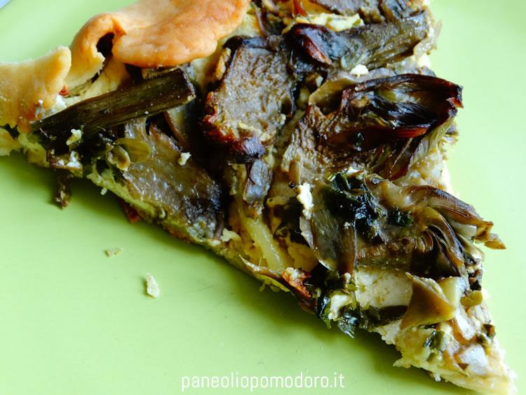 torta salata con carciofi e mentuccia