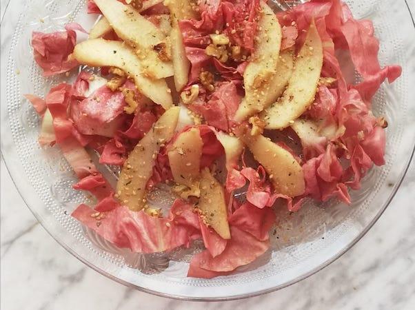 insalata radicchio rosa pere e noci