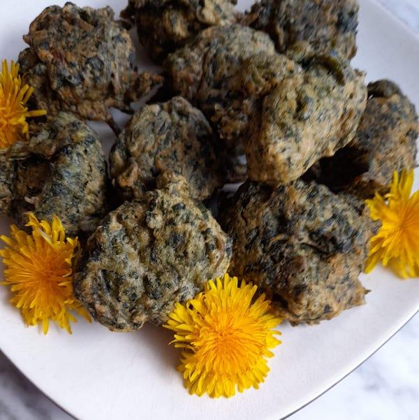 frittelle di tarassaco senza uova
